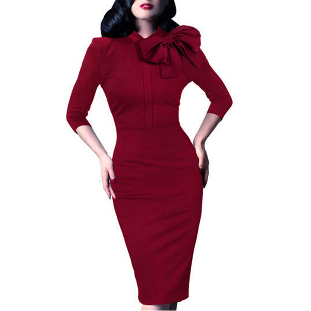 Vintage Women Autumn Elegant 1950s Retro Rockabilly Front Bow Party Formal Business Work Bodycon Sheath Pencil Dress B244 - Monika's Dresses