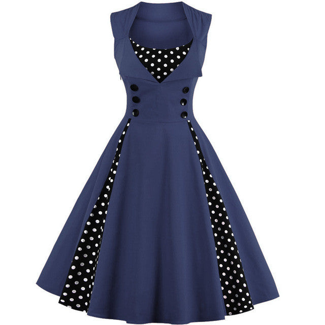 ZAFUL Plus size Summer Women black polk dot vintage Dress Audrey hepbum 50sRockabilly robe Retro Party Dress Feminino Vestidos - Monika's Dresses