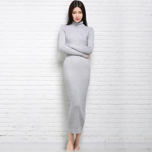 adohon 2016 womens winter Cashmere sweaters and auntmun women knitted Pullovers High Quality Long Female Trutleneck Ankle-Length - Monika's Dresses