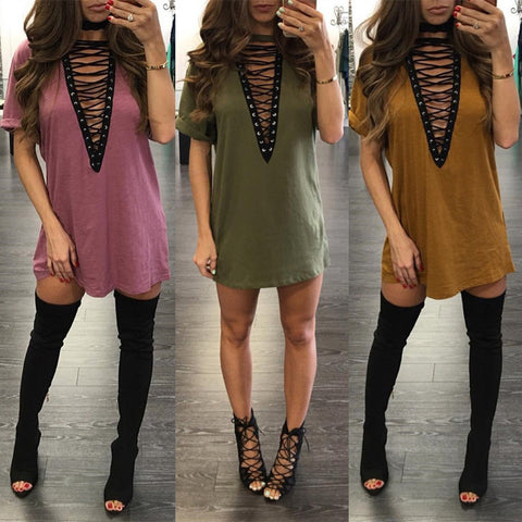 New Fashion 12 colors plus size S-2XL Women high quality sexy deep v-neck lace up short sleeve mini tshirt dresses Vestido Curto - Monika's Dresses