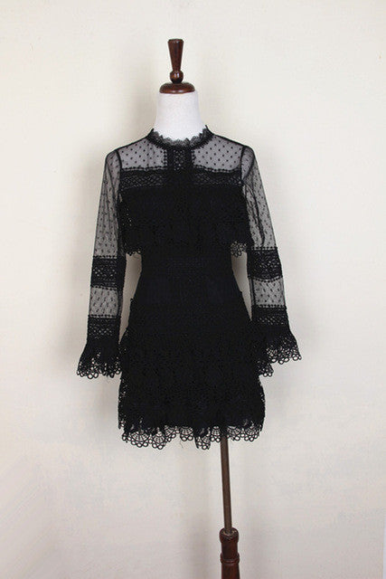2017 women brand style elegant vestidos bodycon casual runway spring autumn black short party lace sexy dress long sleeve - Monika's Dresses