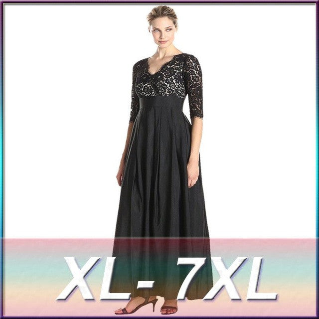 6xl 2016 Summer Women High Quality Lace Dress Female Sweet Elegant Patchwork Seven Sleeve V-neck Maxi Long Party Dress Big Size - Monika's Dresses