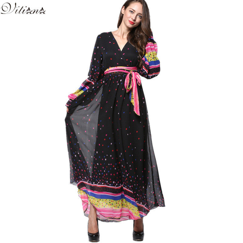 2017 Womens Summer Elegant Beach Chiffon Clothing Lantern Sleeve Print Dot Maxi Long Dress Plus Size 6XL 7XL Vestidos 9031 - Monika's Dresses