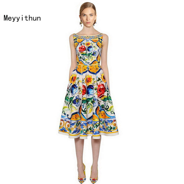 New Arrival Baroque Pottery Printed Linen Dress Vacation Dress
