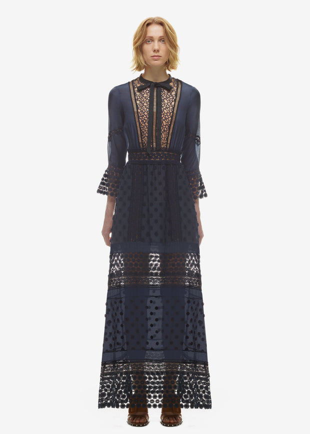 High-end custom self portrait style blue lace long sleeve sexy party autumn women maxi 2017 fashion runway casual dress - Monika's Dresses