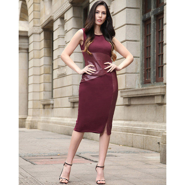 2017 RUIYIGE New Arrival Bodycon plus size Sleeveless Sexy party Office Women Summer pencil tunic Dress Club vestidos - Monika's Dresses