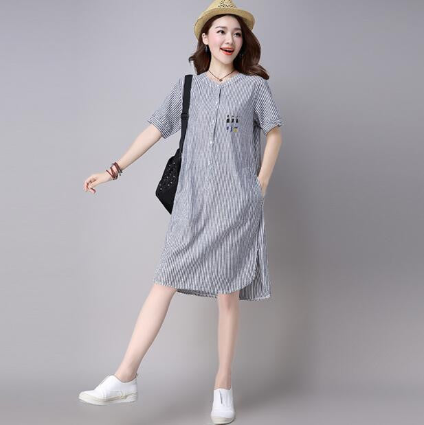 2017 Women Newest Loose Casual Striped Shirt Dresses Fashion Short Sleeve Pinted Plus Size Dresses Clothes - Monika's Dresses