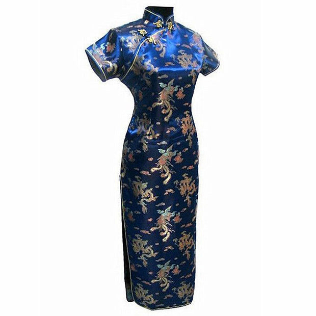 Navy Blue Traditional Chinese Clothing Women's Satin Long Cheongsam Qipao Dress Plus Size S M L XL XXL XXXL 4XL 5XL 6XL J3093 - Monika's Dresses