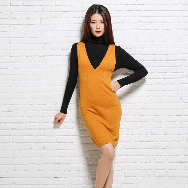 adohon 2016 womens winter Cashmere sweaters and dresses women High Quality Warm Female thickening Empire Vest Spaghetti - Monika's Dresses