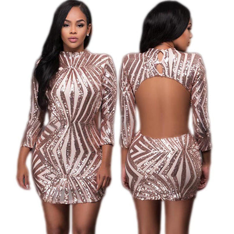 Sexy Backless Sequined Gold Mini Dress Slim Long Sleeve Glitter Bodycon Women Vestidos Club Party Short Femme Silver Dress - Monika's Dresses