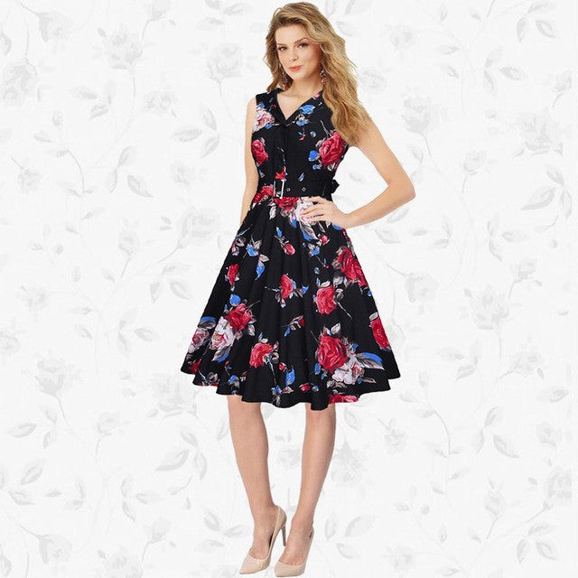 2017 RUIYIGE New Arrival Women Floral Print sleeveless Vintage 50s 60s Casual formal evening party Retro lady Dress vestido C865 - Monika's Dresses