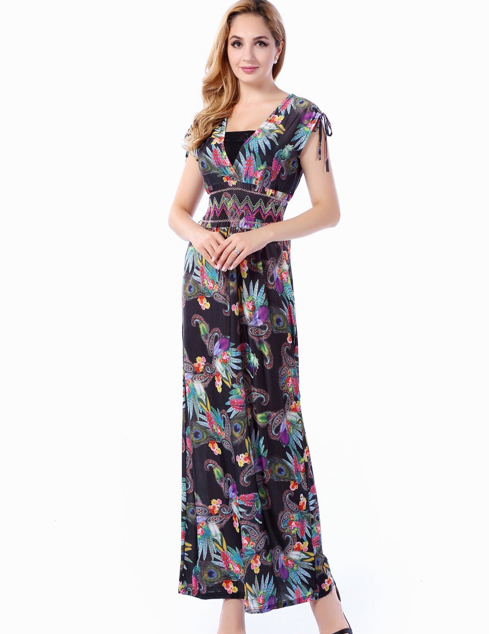2017 Women Summer Beach Dress Sleeveless V Neck Long Maxi Dress 5XL