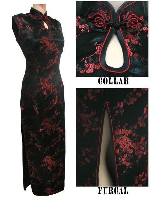 Black-Red Traditional Chinese Dress Women's Satin Long Halter Cheongsam Qipao Clothings Flower Size S M L XL XXL XXXL J3035 - Monika's Dresses