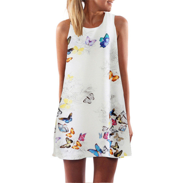2017 Summer Dress Cat Print O-Neck Sleeveless Dress Women Sexy Casual Mini Vestido Casual A-Line Dresses Funny Casual Top - Monika's Dresses