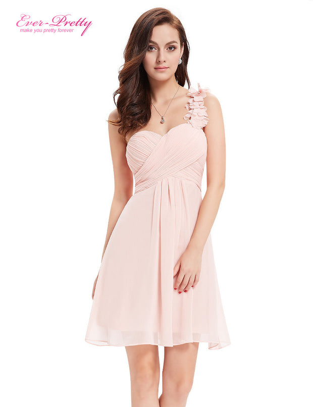 Bridesmaid Party Dresses One Shoulder Flowers Padded Ruffles Short
