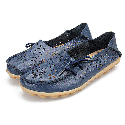 2017 Women Flats Leather Shoes Moccasins Mother Loafers Soft Leisure
