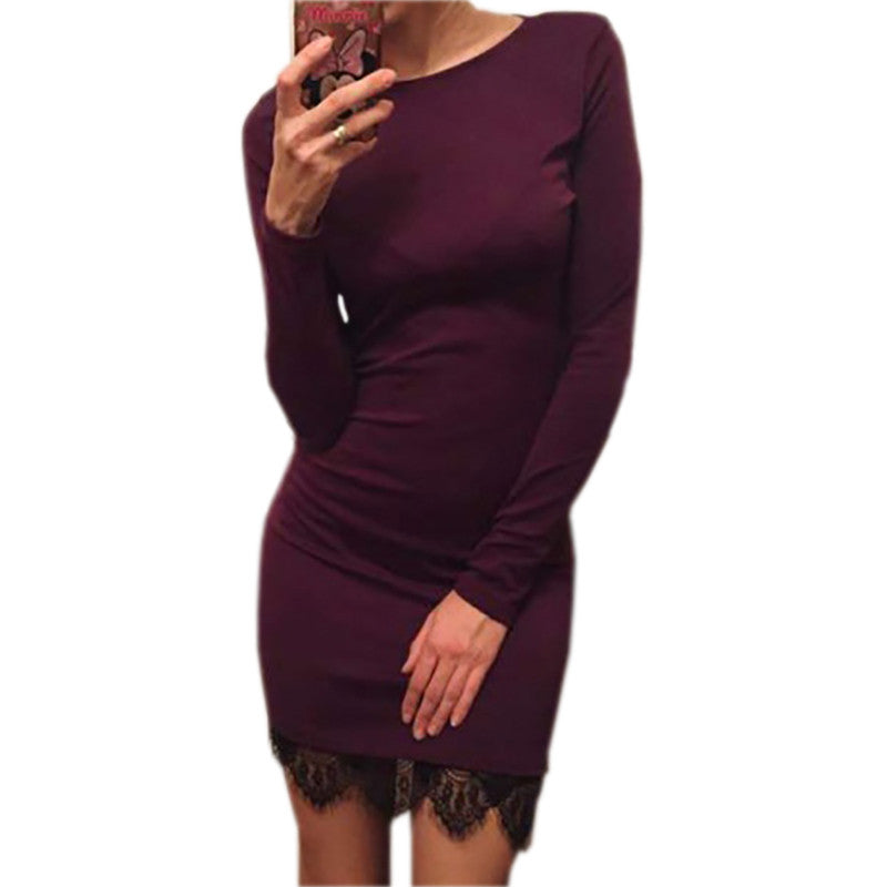 2017 Women casual vestidos de fiesta Elegant lace solid bodycon dress Christmas evening party long sleeve winter dress LX067 - Monika's Dresses