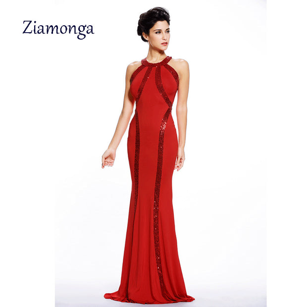 2017 Elegant Dress Women Sequin Trim Red Black Blue Jersey Gown Summer