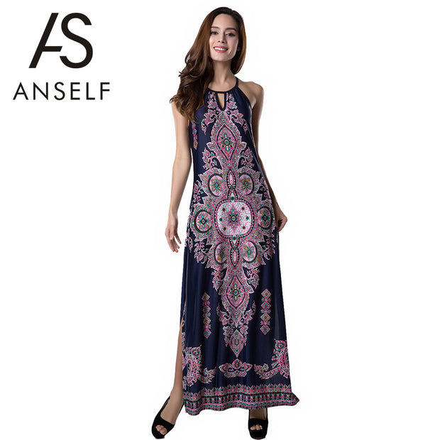 Anself 2017 Bohemian Sexy Women Long Dress Floral Print Hollow out