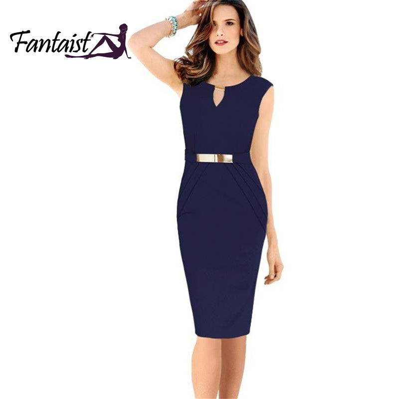 2015 New Women Work Wear Spring Vestidos De Fiesta Knee Length