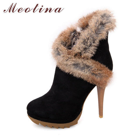 Meotina Shoes Women Boots Platform High Heels Winter Boots Ladies Shoes Sexy Stiletto Ankle Boots Rabbit Fur Shoes Black Green