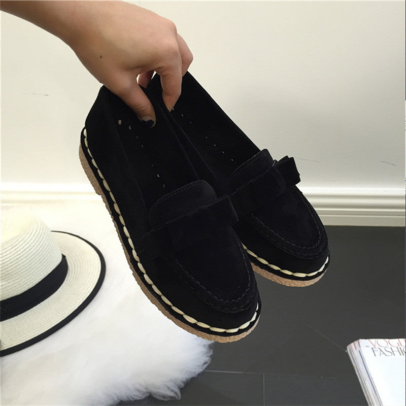 AD AcolorDay 2017 Bowtie Suede Women Shoes Causal Vintage Boat Shoes