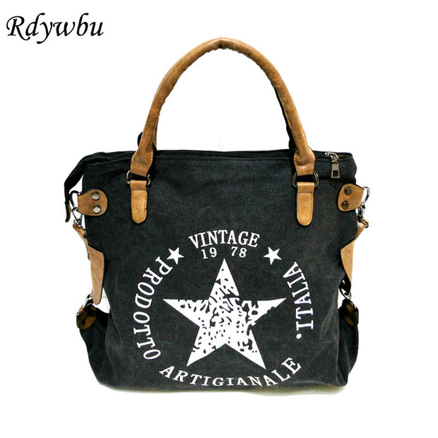 Rdywbu VINTAGE BIG STAR PRINTED CANVAS TOTE HANDBAG - Women's