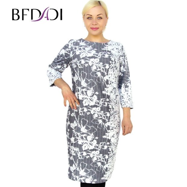 BFDADI 2016 Spring Plus Size Women Casual Straight Print O-Neck