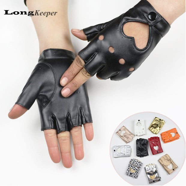 LongKeeper Female Dance Gloves semi-finger Gloves Party Show leather