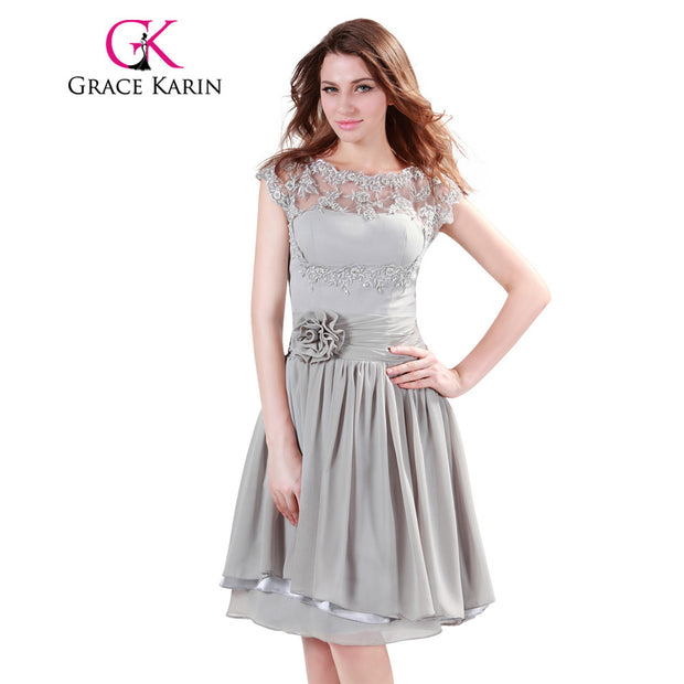 Grace Karin Bridesmaid Dresses Short Midi Grey Chiffon Formal