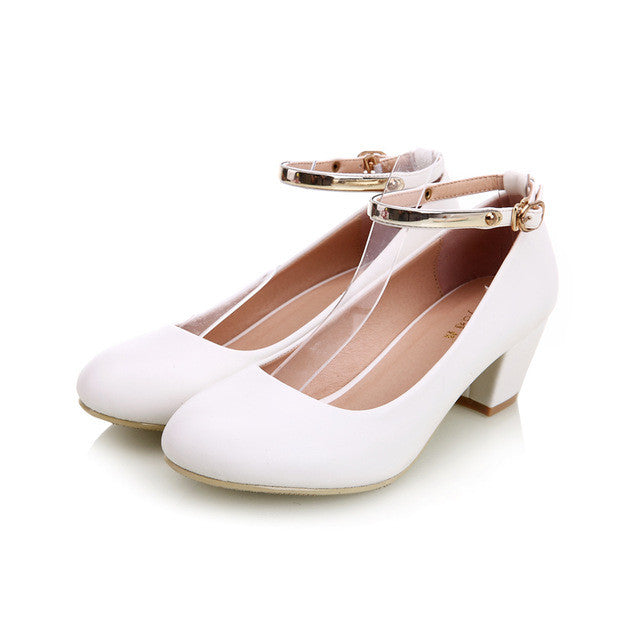 YALNN New Women's Buckle High Heels Women Pumps Sexy Bride Party Thick
