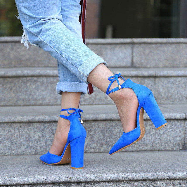 6 Colors Pointed Strappy Pumps Sexy Retro High Thick Heels Shoes