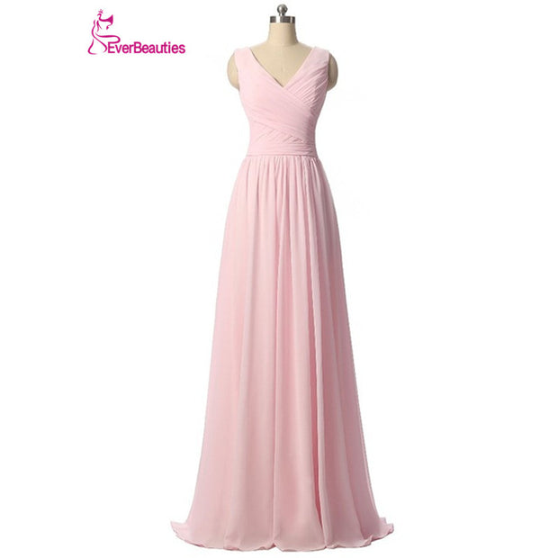 Ever Beauty Mint Green Long Chiffon A Line Pleated Bridesmaid Dress