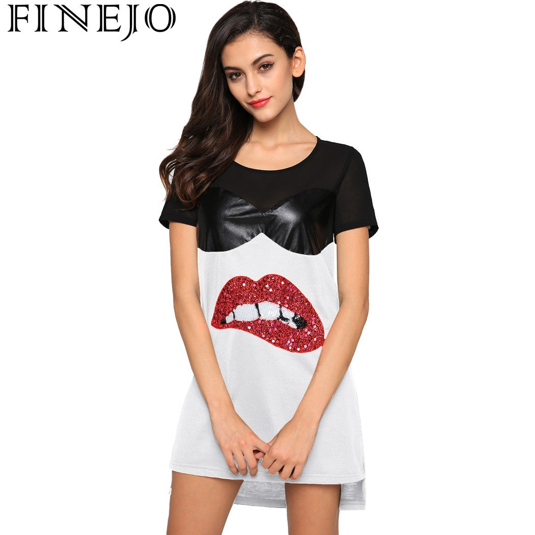 FINEJO Casual Loose Dress Women Summer Plue Size 2017 O-Neck Short