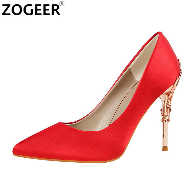 New 2017 Spring Summer Women Pumps High Heels Shoes Sexy Metal