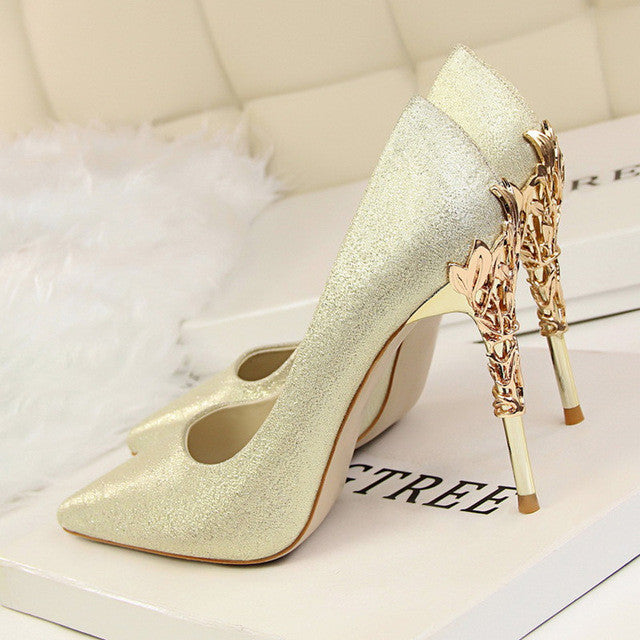 2017 Women pumps Sexy Pointed toe Luxury Metal high heels shoes