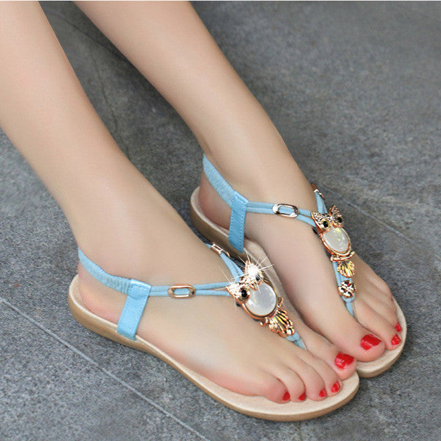 2017 Summer Flat Sandals Women Shoes New Luxury Owl Rhinestone Women