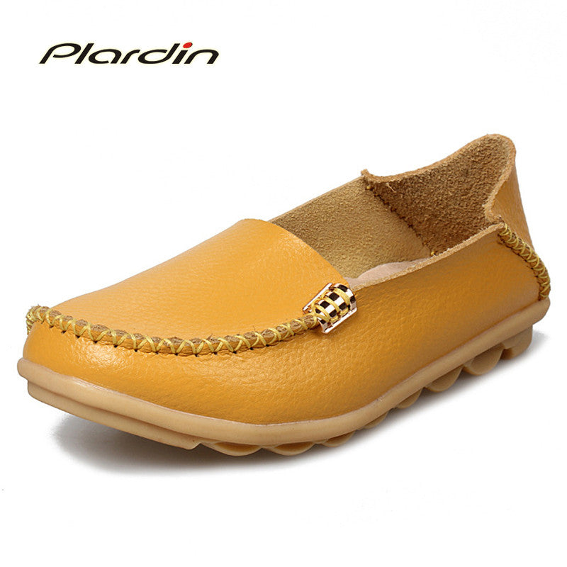2017 Summer Candy Colors Genuine Leather Women Casual Shoes Fashion