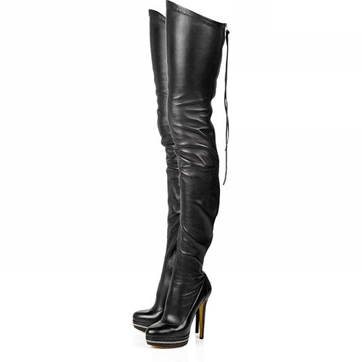 2017 Women Boots Stretch PU Leather Over The Knee High Sexy Ladies