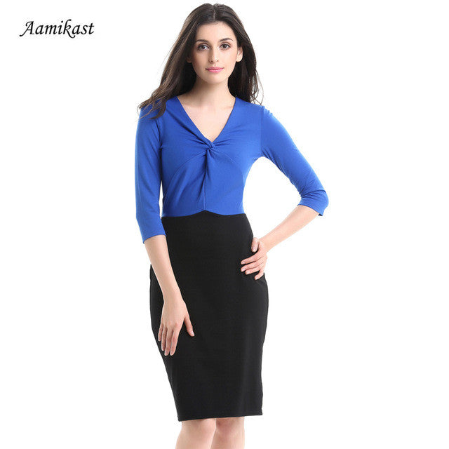 AAMIKAST New Fashion Elegant 2017 V-neck Three Quarter Sleeve