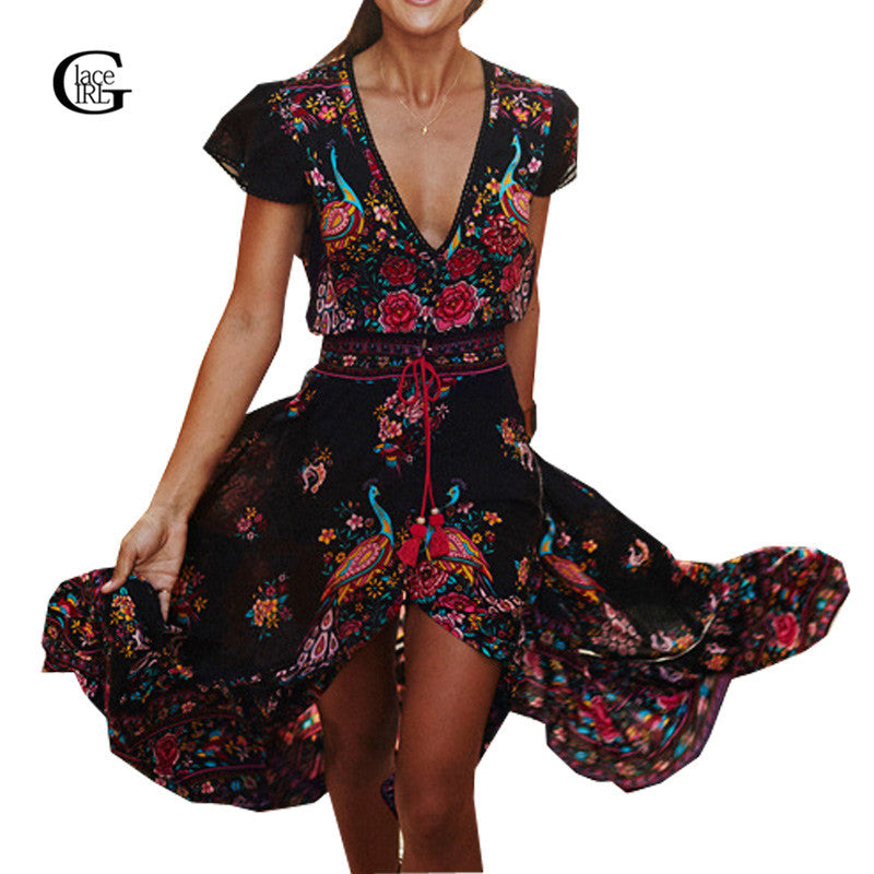 LaceGirl 2017 Summer Women Long Flower Dresses Retro Bohemian Maxi