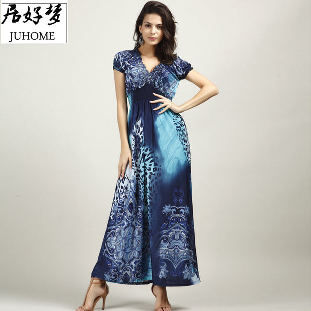 plus size Sexy maxi long summer dress women clothing 2017 blue