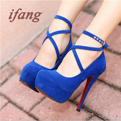 2017 Shoes Woman Pumps Cross-tied Ankle Strap Wedding Party Shoes
