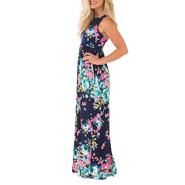 Boho Floral Printed Sundress O-neck Summer Sexy Pleated Maxi Dress