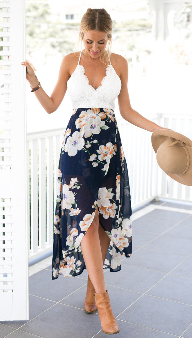 Summer style women lace long flower print patchwork dresses sexy V