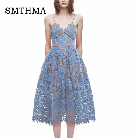 SMTHMA 2017 New arrive  Spring and Summer Runway  Sexy V-neck flower Lace  Long Dress