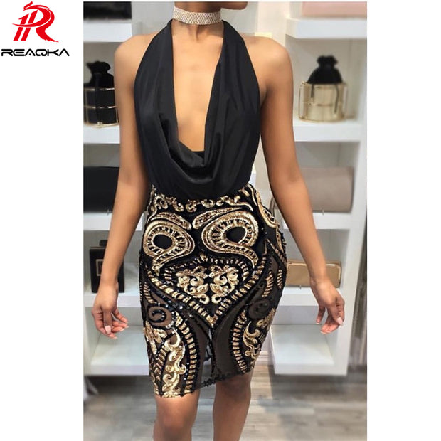 Reaqka women elegant Sequin dress 2017 Sexy bandage summer dress