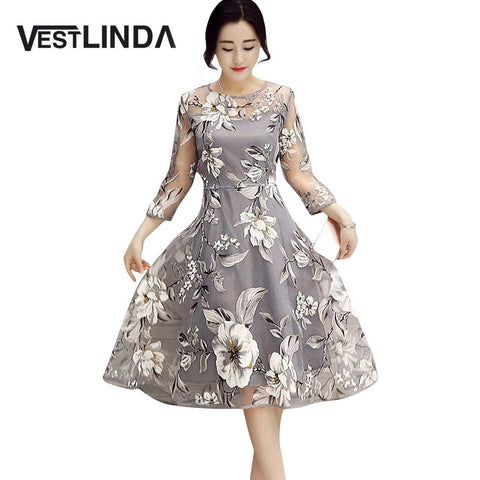 VESTLINDA Retro Vintage Dresses 50s 60s Rockabilly O Neck 3/4 Sleeve A-Line Floral Print Midi Party Dress Summer Women Vestidos