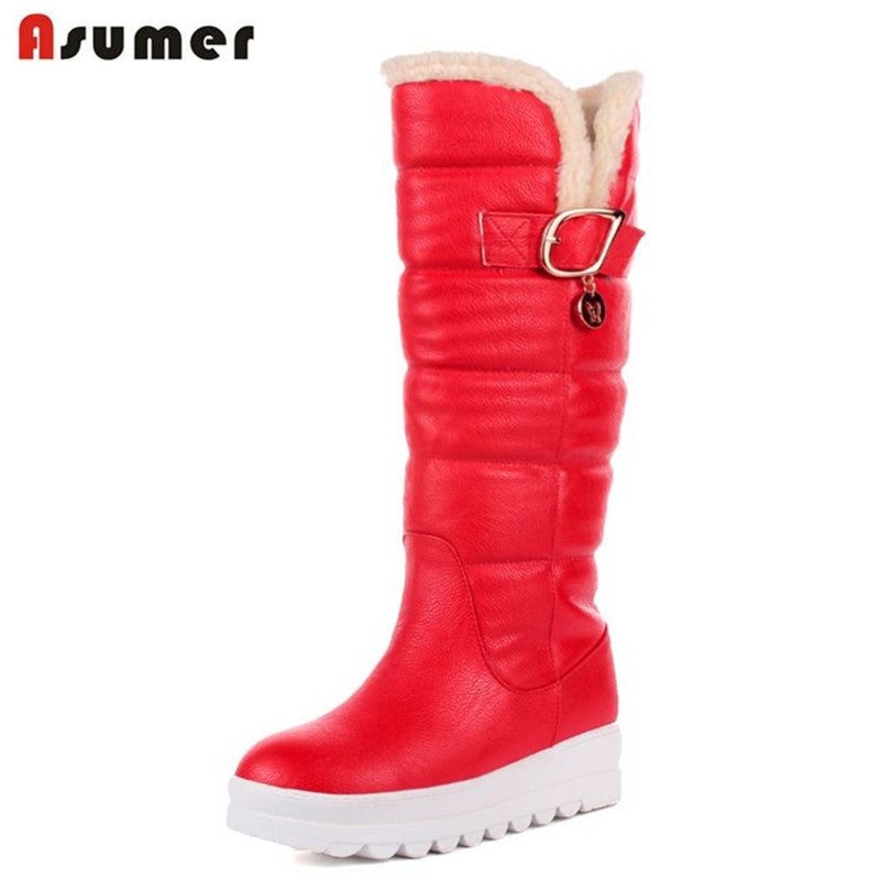 ASUMER Large size 34-43 mid calf boots round toe med heels platform