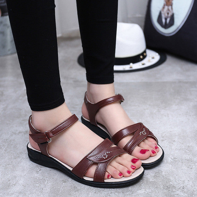 2017 summer new Mother flat sandals Plus Size soft bottom leather
